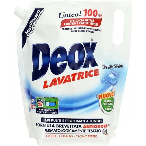 Рідкий пральний порошок DEOX Lavatrice Fresh White Экоформат 1375 мл (25 прань)