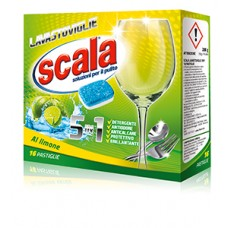 Таблетки для посудомийних машин SCALA LAVASTOVIGLIE 5in1 Limone 16 PASTIGUE