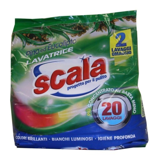 Сипучий пральний порошок з ароматом хвої і евкаліпта  SCALA LAVATRICE EUCALIPTO 1,44 KG